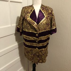 Vintage Metallic Gold and Purple Button Down Top